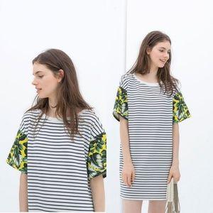 Zara Stripe Shift Dress Palm Sleeves Sz M